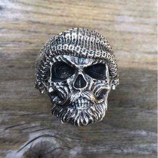 スカルリング スターリングシルバー 925 サイズ 調整可能 髑髏 ドクロ 髭(リング(指輪))