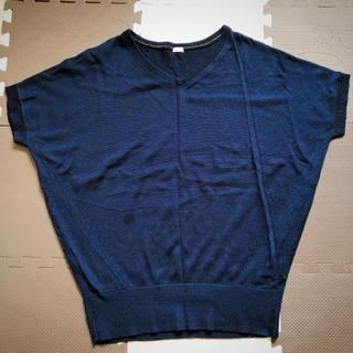 ジーユー(GU)のGU サマーニット ネイビー 半袖ニット(カットソー(半袖/袖なし))