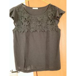 ジーユー(GU)のGU 黒 レース付きTシャツ(Tシャツ(半袖/袖なし))