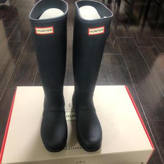 ハンター(HUNTER)のHUNTER ハンターレインブーツ ネイビー 試着のみ 新品未使用 25cm(レインブーツ/長靴)