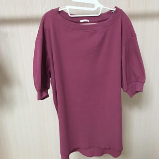 ジーユー(GU)のgu  ワッフルオーバーサイズT  ピンク(カットソー(半袖/袖なし))