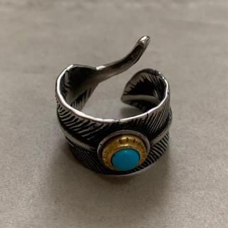 高品質STAINLESS STEEL ターコイズ フェザーリング(リング(指輪))