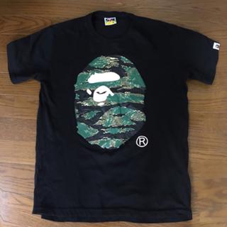 アベイシングエイプ(A BATHING APE)のA BATHING APE  猿顔  人気Tシャツ黒サイズM(Tシャツ/カットソー(半袖/袖なし))