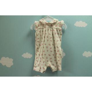ベビーギャップ(babyGAP)のB088★ベビー ギャップ60ロンパース3-6か月 花柄 綿 出産準備女の子(ロンパース)