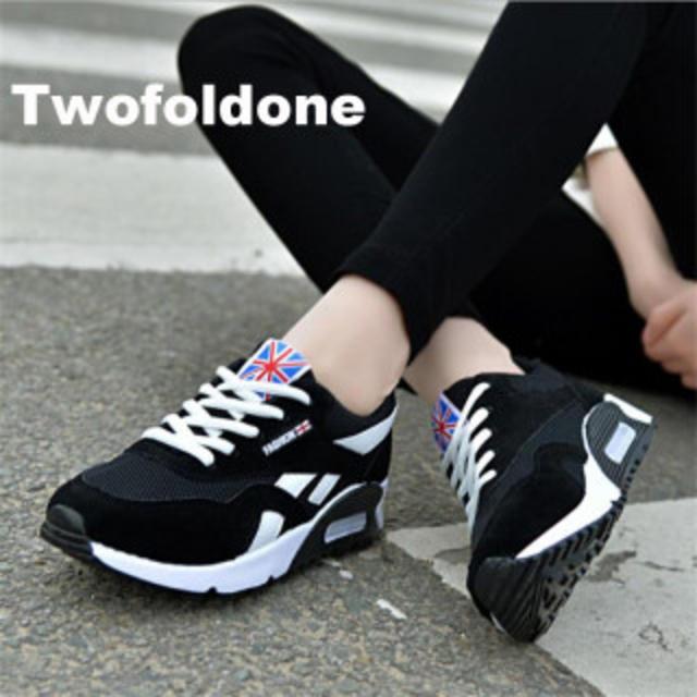 レディーススニーカー カジュアル 厚底 軽量快適 ブラック 24.5cm レディースの靴/シューズ(スニーカー)の商品写真