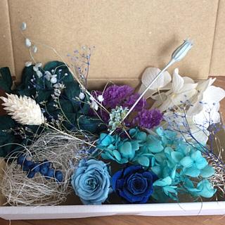 ブルー&ホワイト 花材 アソートボックス(プリザーブドフラワー)