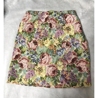 シマムラ(しまむら)の【新品未使用】ゴブラン織   花柄 刺繍スカート  L(ひざ丈スカート)