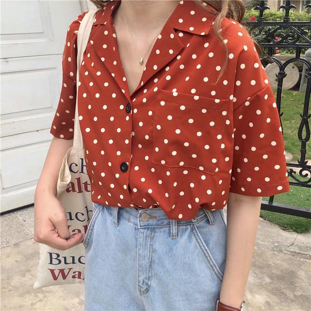 Kastane(カスタネ)のminiさま ドットカラーシャツ レディースのトップス(シャツ/ブラウス(半袖/袖なし))の商品写真