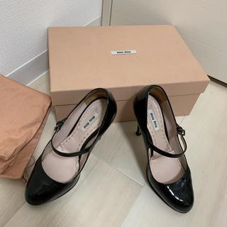 miumiu - miumiu エナメルパンプス ブラック 34 1/2 22.5cm