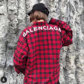 Balenciaga - BALENCIAGA コットンチェックシャツ