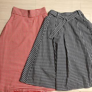 GU - ギンガム ミモレ丈スカートLサイズ2枚セット