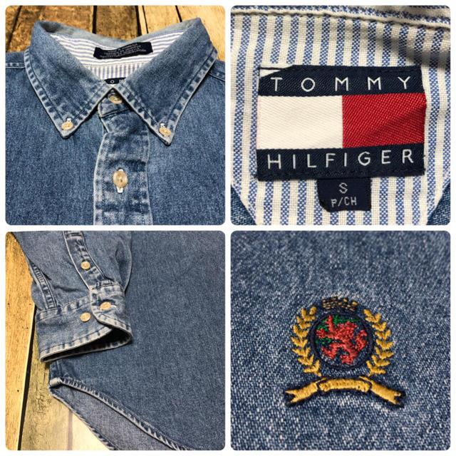 TOMMY HILFIGER(トミーヒルフィガー)の【激レア】トミーヒルフィガー☆オールド刺繍ロゴ入りデニムシャツ 90s メンズのトップス(シャツ)の商品写真
