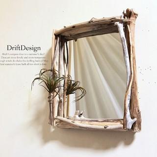 ~Drift Design~ 流木と造花のお洒落なロンハーマン風壁掛けミラー