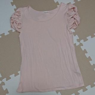 ジーユー(GU)のデザインスリーブ ピンクTシャツ GU(Tシャツ(半袖/袖なし))