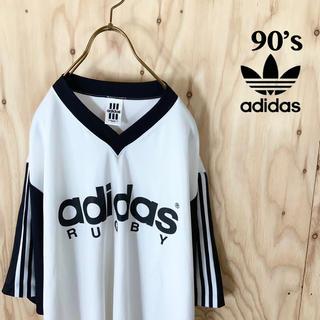 アディダス(adidas)の90's adidas ビッグロゴ adidas RUGBY ゲームシャツ(Tシャツ/カットソー(半袖/袖なし))