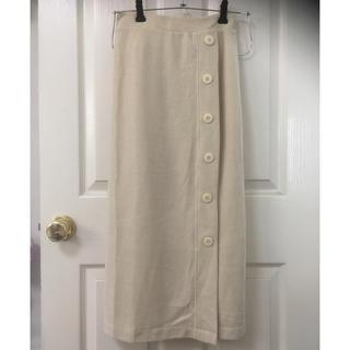 シマムラ(しまむら)の新品しまむらワッフルボタンロングタイトスカートL淡肌色(ロングスカート)