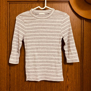ジーユー(GU)の新品未使用*GU ボーダーTシャツ グレー(Tシャツ(半袖/袖なし))