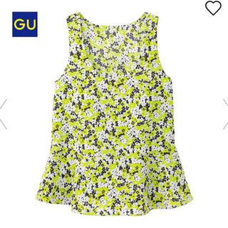 ジーユー(GU)の【最終】新品  GU  フラワーペプラムトップス  L〜XL(シャツ/ブラウス(半袖/袖なし))