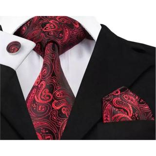 高級 ネクタイ ポケットチーフ カフス 3点セット B-7