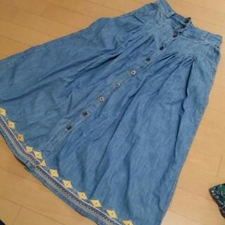 ダブルネーム(DOUBLE NAME)のDOUBLE NAME デニム刺繍ロングスカート(ロングスカート)