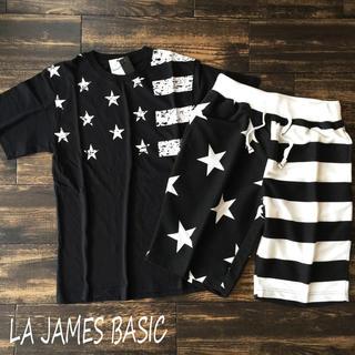 西海岸 USA 星条旗スター セットアップ Tシャツ ハーフパンツ BLACK