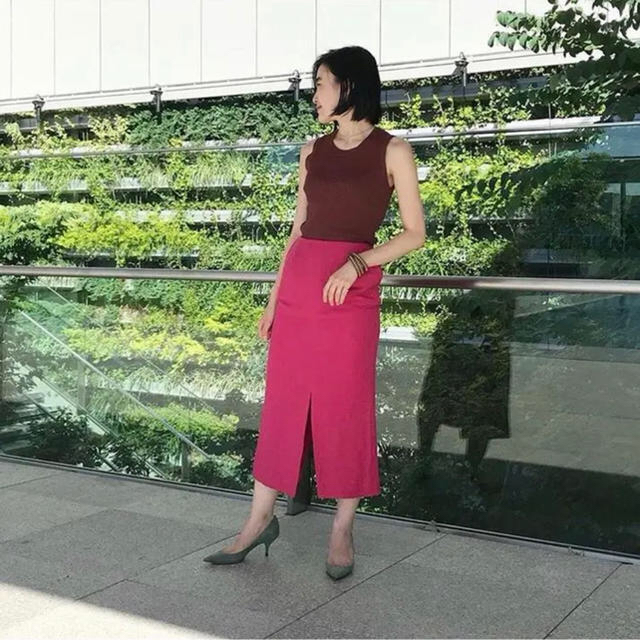 Demi-Luxe BEAMS(デミルクスビームス)のDemi-luxe BEAMS リネンレーヨンタイトスカート レディースのスカート(ひざ丈スカート)の商品写真