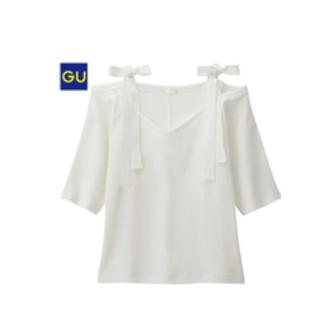 ジーユー(GU)のGU リブリボンショルダーT(Tシャツ(長袖/七分))