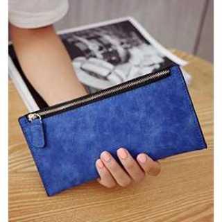 財布 ダーク ブルー スリム コンパクト カード入れ PUレザー レディース(財布)