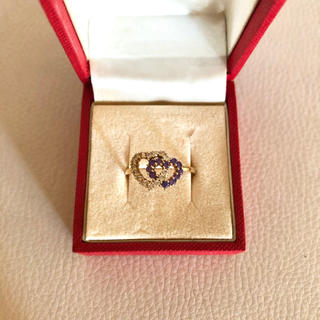 K18 ゴールド ハート リング ラインストーン 指輪 ヴィンテージ(リング(指輪))