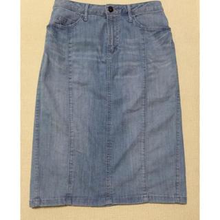 ベルメゾン(ベルメゾン)のベルメゾン style note 大人のデニムスカート ライトブルー61-89 (ひざ丈スカート)