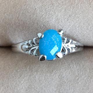 (103)ターコイズブルーのトップのファッションリング シルバー(リング(指輪))
