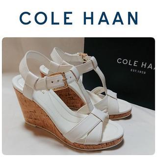 コールハーン(Cole Haan)の極美品 COLE HAAN ウエッジ サンダル ホワイト 定価34000円(サンダル)