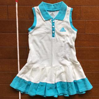 アディダス(adidas)のアディダス ホワイト×ブルー ノースリーブ テニス ワンピ 90 95(ワンピース)