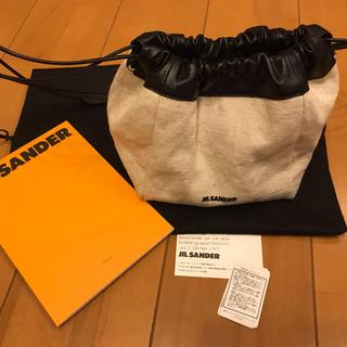 新品 ジルサンダー 巾着バッグ ポシェットリネン ブラックレザー リバーシブル