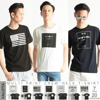 【Valletta】マルチプリントクルーネックTシャツ(Tシャツ/カットソー(半袖/袖なし))