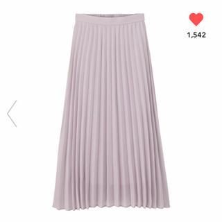 ジーユー(GU)の新品 gu プリーツロングスカート Mサイズ ライトパープル ラベンダー(ロングスカート)