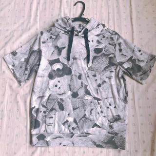 シマムラ(しまむら)のしまむら モノクロ くまさんパーカー 半袖 Mサイズ(パーカー)