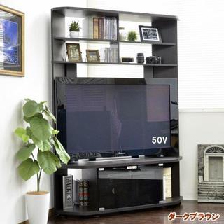 送料無料!高品質 50インチ対応 コーナーテレビ台 ハイタイプ ブラウン