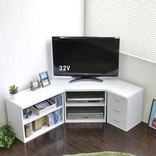 高品質◎テレビ台 コーナー 3点セット 木製 ホワイト  TVボード 収納