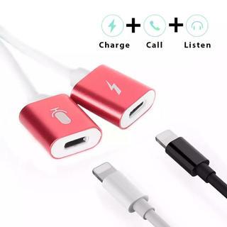 iPhone - iPhone 二股充電器 スプリッタケーブル 2in1  (レッド)
