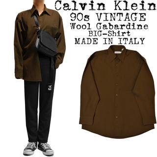 カルバンクライン(Calvin Klein)の★美品★Calvin Klein★90s★ウールギャバ シャツ★茶色★イタリア製(シャツ)