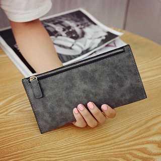 財布 グレー スリム コンパクト カード入れ PUレザー シンプル レディース(財布)