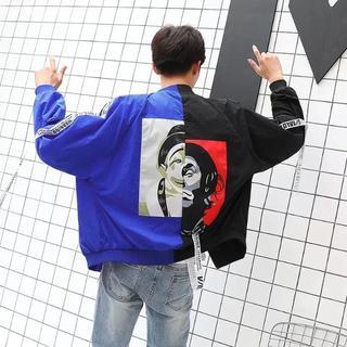 ピエロジャケットXXL/青・黒/ MA-1 / ユニセックス(ナイロンジャケット)