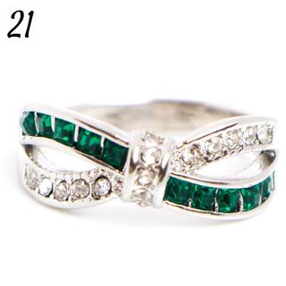 G6 リング 21号 タイル クロス 人工石 グリーン 大きいサイズ(リング(指輪))