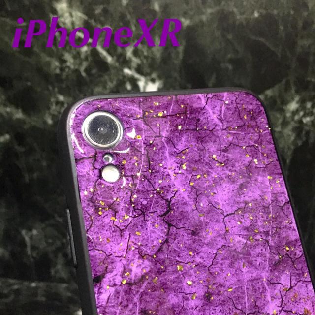 アイフォンXR iPhoneXRケース☆クラック柄☆パープル☆送料無料の通販 by ロゴ's shop|ラクマ