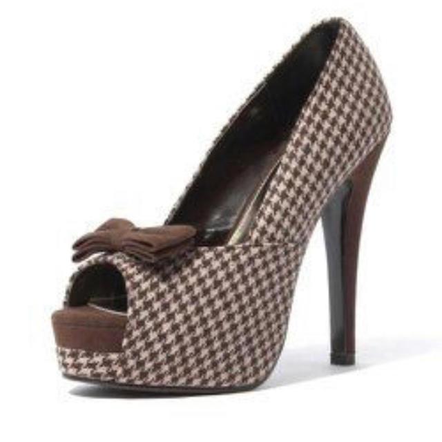 DURAS(デュラス)のDURAS 千鳥リボン付きオープントゥパンプス レディースの靴/シューズ(ハイヒール/パンプス)の商品写真