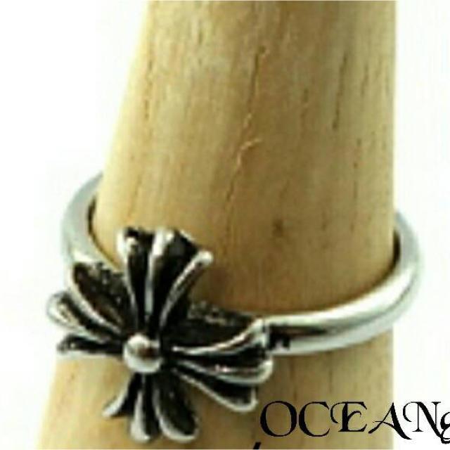 送料無料 17号 シルバーワンポイントクロス十字架リング 指輪 バブルガムリング メンズのアクセサリー(リング(指輪))の商品写真