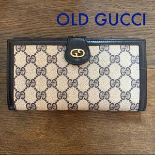 4c58649d283b グッチ(Gucci)のOLD GUCCI GGモノグラム がま口長財布 ネイビーブルー vintage(
