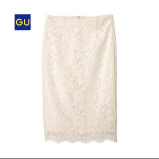 ジーユー(GU)のGU レースタイトスカート ホワイト(ひざ丈スカート)