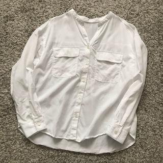 ジーユー(GU)のジーユー GU ワークスキッパーシャツ  ホワイト  白 S 完売(シャツ/ブラウス(長袖/七分))